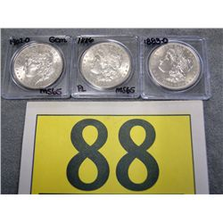 US MORGAN SILVER DOLLARS  MS 65'S 1883-O, 1886 BRIGHT FINISH AND 1902-O GEM  EST $75-$125