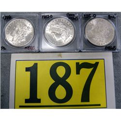 US MORGAN SILVER DOLLARS MS65'S 1885-O, 1886, &1902-O