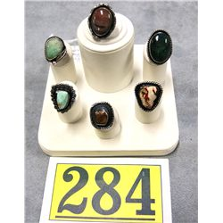 NATIVE AMERICAN OLD PAWN STERLING RINGS HAND MADE RINGS, MISC STONES, UNSIGNED  EST $35-$65 EA