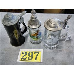 VINTAGE CRYSTAL COVERED STEINS 1 WITH RUNNING ELK; 1 WITH ETCHED SAILBOAT AND 1 VIP OLD SPICE COLUMB