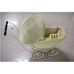 WICKER DOLL BUGGY C. 1920'S GOOD CONDITION,   EST $50-$75  NO INTERNET SHIPPING,  OVERSIZE EST $ 125