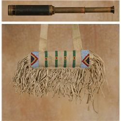 Crow Beaded Telescope Case with Telescope, 19th century