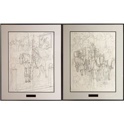 Edward Burns Quigley, pair of pencil sketches