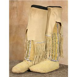 Kiowa Boots with Twisted Fringe, early 20th century