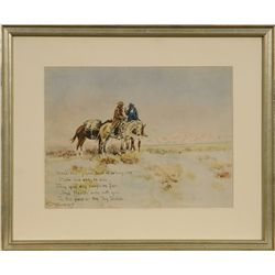 Charles M. Russell, hand colored lithograph card