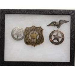 Lot of three older reproduction law  enforcement badges including a cast cut-out  U.S. Marshal star