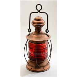 "Old copper railroad lantern with red glass  lens in overall very good condition, approx.  15"" in hei"
