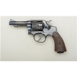 "Smith & Wesson hand ejector 5 screw revolver,  .38 S&W cal., barrel cut down to 3-1/2""  re-blued fin"