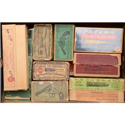 Lot of collectible ammo boxes, some full,  some partials, some empty, including a cigar  box of bras