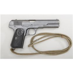 "Husqvarna Model 1907 semi-auto pistol, .380  cal., 5"" barrel, mat black military style  finish, chec"