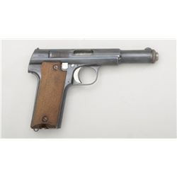 "Astra Model 600/43 semi-auto pistol, 9mm  cal., 5"" barrel, blue finish, checkered wood  grips, #1900"