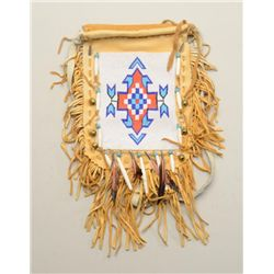 "Modern-made American Indian beaded bag,  approx. 18"" x 12"" including fringe, in  overall very good c"