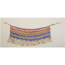 "Beaded ceremonial dress collar with cowry  shell dangles, approx. 24"" long and approx.  10"" wide in"