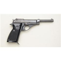 "Beretta Model 100 semi-auto pistol, 7.65  cal., 6"" barrel, black finish, checkered  black plastic gr"