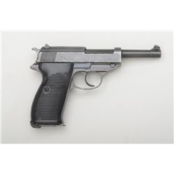 "German P-38 DA semi-auto pistol by Spreewerke  factory (cyq-marked), 9mm cal., 5"" barrel,  military"