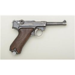 "German Luger by Erfurt, 9mm cal., 4"" barrel,  military mat black finish, checkered wood  grips, #537"