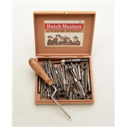 Large box lot of gunsmithing tools, circa  19th & 20th centuries, some identified and a  number of e
