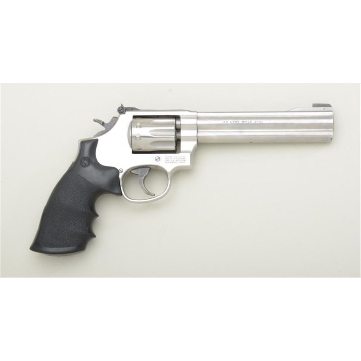 "Smith & Wesson Model 617-4 Plus DA 10-shot revolver, .22LR cal., 6"" barrel,  stainless steel, check"