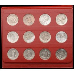 """The Saints of Christendom"" by the American  Mint Associates consisting of 12 die struck  silver rou"