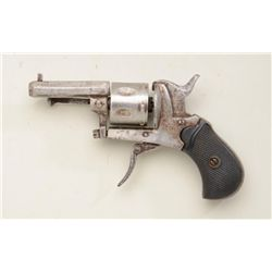 "Diminutive folding trigger revolver, .22  cal., 1-3/4"" octagon barrel, checkered hard  rubber grips,"