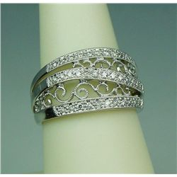 Dazzling 14 karat white gold ladies ornate  design ring bead set with 35 round diamonds  weighing ap