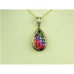 High quality 14 karat yellow gold stamped  'JH' ladies necklace invisible set with  multi-colored pr