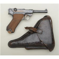 "German Luger semi-auto pistol by DWM, marked  1917 on top of receiver, 9mm cal., 4"" barrel,  militar"