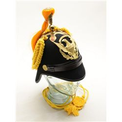 Finely made reproduction of an Indian Wars  era U.S. military parade soft helmet with  yellow braidi