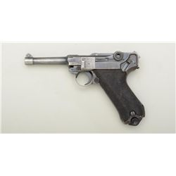 "German Luger semi-auto pistol, 9mm cal., 4""  barrel, blue finish, checkered wood grips,  import-mark"