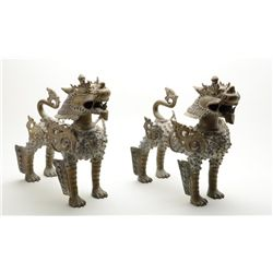 "Large pair of Nepalese heavy brass temple  mythical tigers, each approx. 15"" high, 8""  wide and 16"""