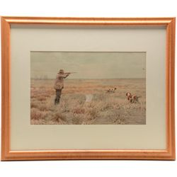 Perfect for the hunters gunroom: a  beautifully framed and matted A.B. Frost  chromo litho of a bir