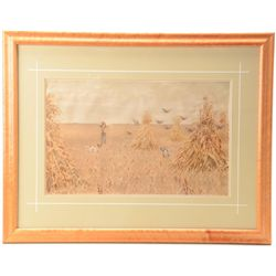 Beautifully wood framed and double matted  color chromo litho by A.B Frost of a hunter,  his dogs an