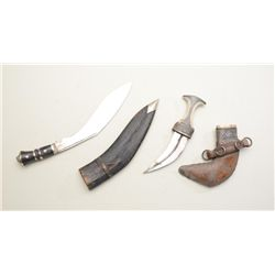 "Lot of two Mid-Eastern knives including a  Gherka knife, approx. 18"" overall with  leather covered w"