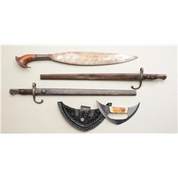 Bonanza lot of five edged weapons including  two European hook guard bayonets with metal  scabbards,