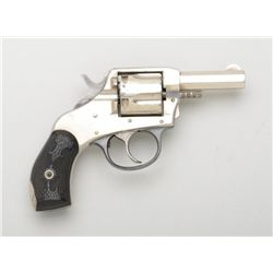 "H & R ""The American"" DA revolver, .38 cal.,  2-1/2"" octagon barrel, nickel finish, black  gutta-perc"