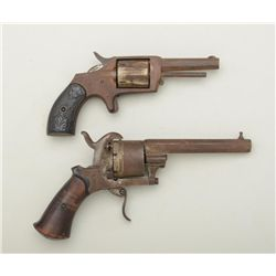 Lot of two relic revolvers including a  European pin fire in 9mm cal., action not  working and a spu