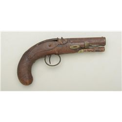 "Relic condition percussion single shot  pistol, .45 caliber, 3-1/2"" octagon barrel,  checkered wood"