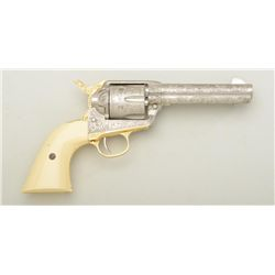 "Highly decorated non-gun model of a Colt SAA  revolver, 4-3/4"" barrel, nickel finish with  gold stra"