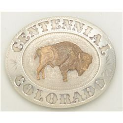 "Large handmade belt buckle marked ""Centennial  Colorado"" with relief American Bison in  brass in the"