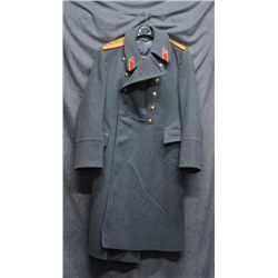 Russian military long coat in overall very  good condition, gray heavy wool material,  lined with fo