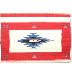 "Mexican Chimayo rug approx. 22"" x 46"" and in  overall very good condition showing a white  backgroun"