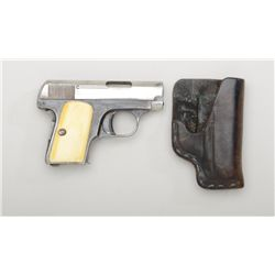"FN Pocket semi-auto pistol, .25 cal., 2""  barrel, blue finish, smooth ivory grips,  #754175. This gu"