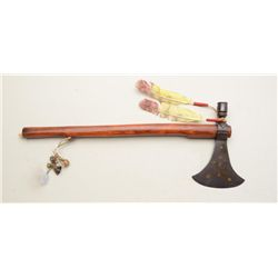 High quality contemporary pipe tomahawk with  iron head displaying inset brass disc  decoration, wel
