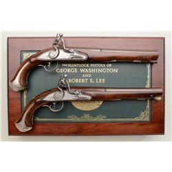 "Cased modern copy pair of flintlock pistols  by the United States Historical Society  entitled ""The"