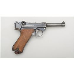 "German Luger semi-auto pistol by DWM, 9mm  cal., 4"" barrel, blue finish, checkered wood  grips, #795"
