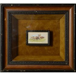 Miniature Watercolor on Paper of Cavalry  Trooper signed by noted artist Paul Abrams  Jr. in shadow