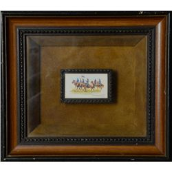 Miniature of an Indian Hunting a Buffalo  signed by noted artist Paul Abrams Jr.  Image  size is 3""