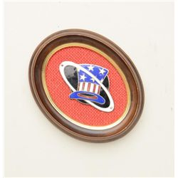 "Framed enamel on metal emblem approx. 2"" x 3""  in overall very good condition, possibly a  military"