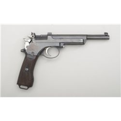 "Mannlicher Model 1905 semi-auto pistol,  7.63mm cal., 6"" barrel, blue finish, grooved  wood grips, #"