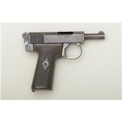"Webley & Scott Model 1905 semi-automatic  pistol, 7.65mm cal., 3-1/4"" barrel, blue  finish, checkere"